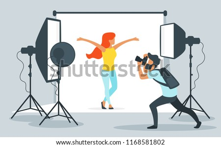 Vector flat style illustration of photo equipment in photography studio with lights and camera. Young model posing for photos. Photographer at work. Minimalism design with people silhouettes.