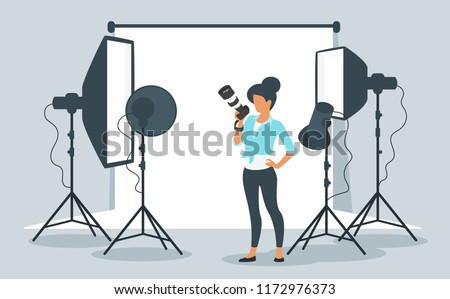 Vector flat style illustration of photo equipment in photography studio with lights and camera. Photographer young woman at work. Minimalism design with people silhouettes.