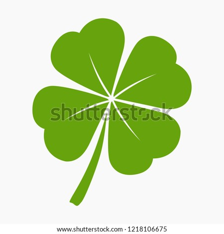 Vector flat style illustration of St. Patrick's day green lucky clover leaf isolated on white background Сток-фото ©