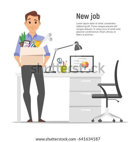 Vector flat style illustration of successful smiling businessman holding cardboard box with work stuff on a new workplace. New job concept. Isolated on white background.