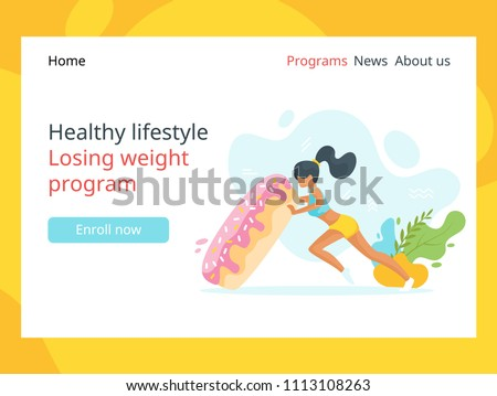Vector flat style illustration of young fit sporty woman flipping big doughnut like a crossfit tyre. Losing weight concept. Healthy lifestyle landing page template. Design with exaggerated objects.