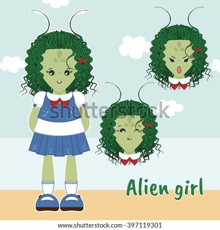 vector flat style kawaii alien