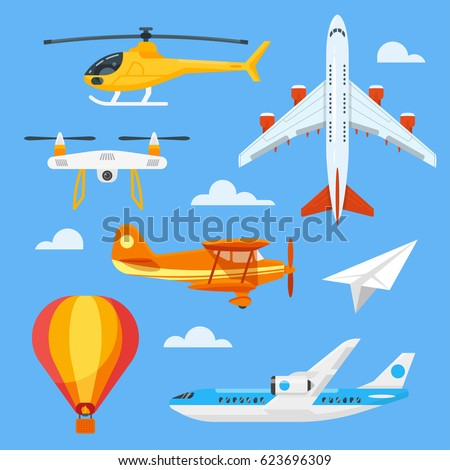 Vector flat style set of colorful air transport. Icons for web.