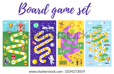 Vector flat style set of kids colorful boardgame template; amusement park, space, farm and travel theme game. For print. Vertical composition.