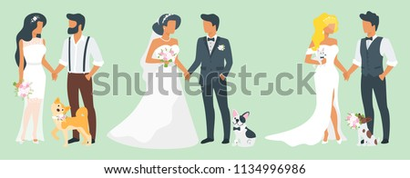 Vector flat style set of three couples in love. Marriage ceremony day with pet dog. Man in suit and woman in wedding dress standing and holding hands. Classical, fashion and hipster style of clothes.