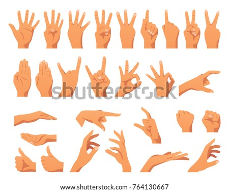 Vector flat style set of various hands gestures. Different signs and emotions. Isolated on white background.