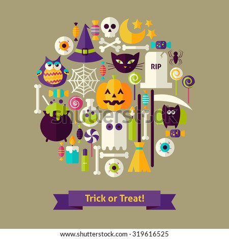 vector flat style trick or