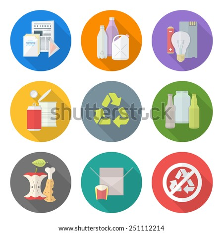 vector flat style various waste colored groups paper plastic battery metal glass organic paper hazardous long shadow icons set for separate collection and segregation recycle garbage