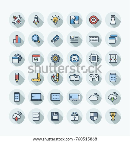 Vector flat thin line icons set and graphic design elements. Digital development outline symbols illustration . Startup, idea bulb, research, game, content, software, app programming color pictogram