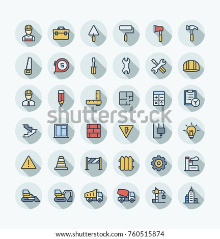 vector flat thin line icons set