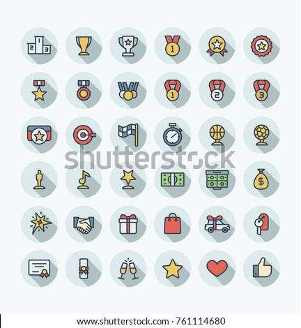 Vector flat thin line icons set, graphic design elements. Illustration with award, achievement symbols. Medal, sport trophy, first place prize, victory gift, cinema, music statuette color pictogram