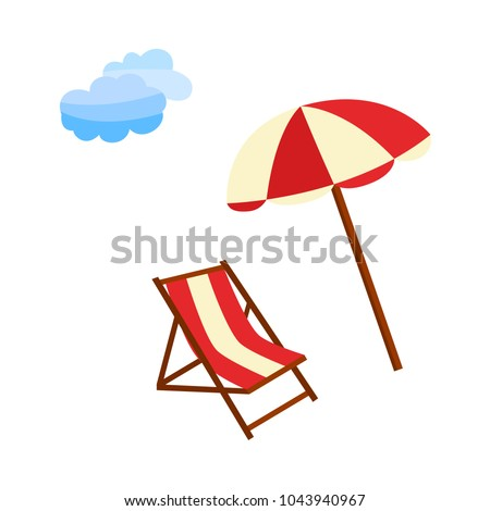 Vector flat travelling, beach vacation symbols icon set. Summer holiday rest elements - lounger, sunshade sun umbrella and blue cloud icon. Isolated illustration, white background