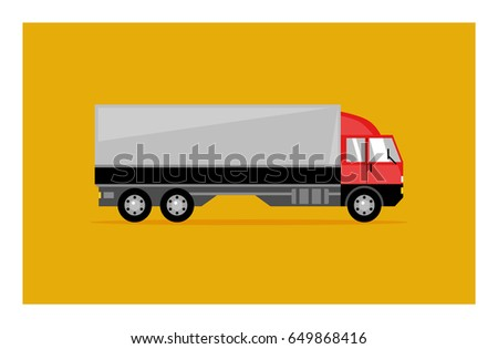 Vector flat truck icon. Side view truck illustration. Car design.