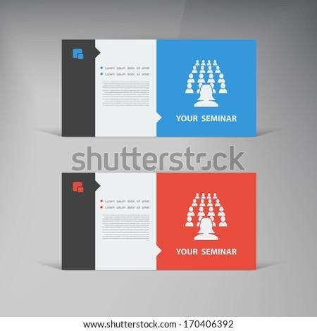Vector flat UI design trend set  business card.