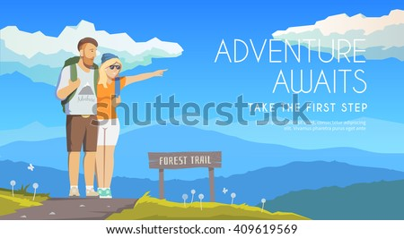 Vector flat web banner on the theme of Climbing, Trekking, Hiking, Walking. Sports, Camping, outdoor recreation, adventures in nature, vacation. Modern flat design. Travelling couple.