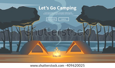 Vector flat web banner on the theme of Climbing, Trekking, Hiking, Walking. Sports, Camping, outdoor recreation, adventures in nature, vacation. Modern flat design. Evening camp.