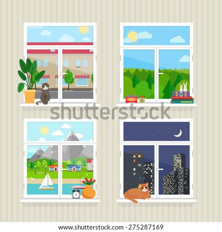 vector flat windows with