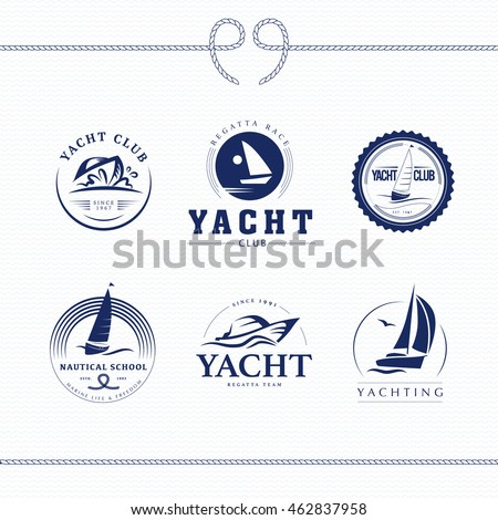 Vector flat yacht club, regatta logo design set. Sailing boat, ship icon, silhouette collection. Emblem, badge template. Nautical school, club brand mark sample.