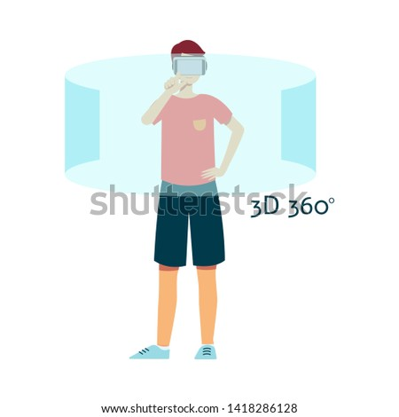 Vector flat young man in virtual reality headset in 360 degrees simulation at interactive screen. Smiling male character in VR goggless enjoying cyberspace. Modern visual technologies concept.