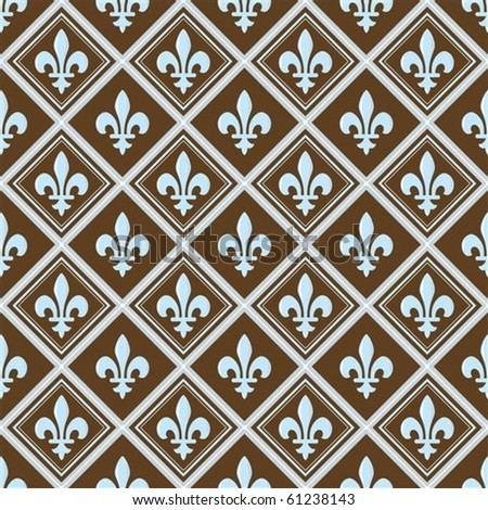 Vector fleur de lys pattern. Perfect for invitations and ornate backgrounds.  Pattern is included as seamless swatch.
