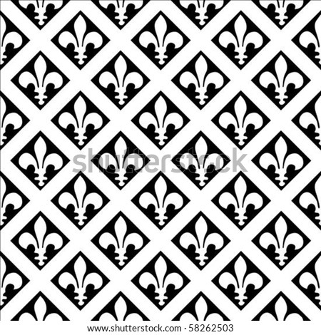 Vector fleur de lys pattern. Seamless tile included. Easy to change colors.