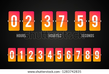 Vector flip board countdown clock counter timer. Scoreboard of hour, minutes and seconds for web page, upcoming event, under constuction page