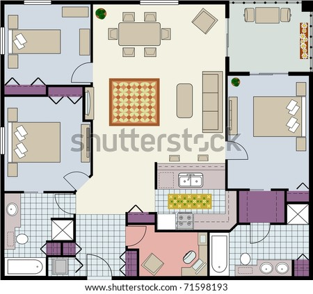 Vector-Floor plan of three-bedroom condo with den and furniture