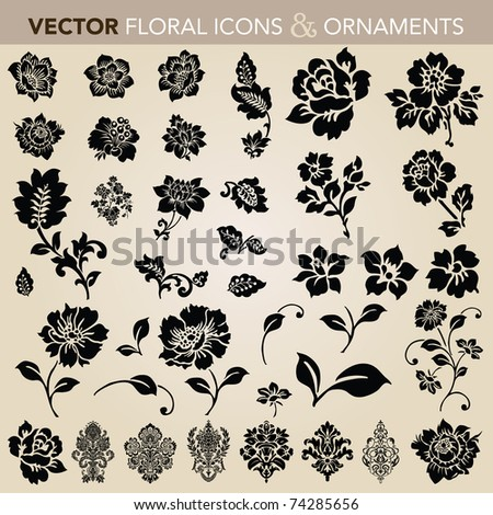 Vector floral and flower icon set Easy to edit.