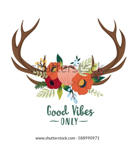 vector floral antlers in the...