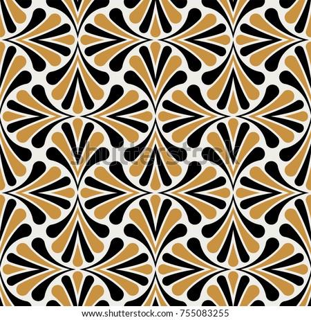 Vector Floral Art Nouveau Seamless Pattern Geometric Decorative Leaves Texture Retro Stylish Background