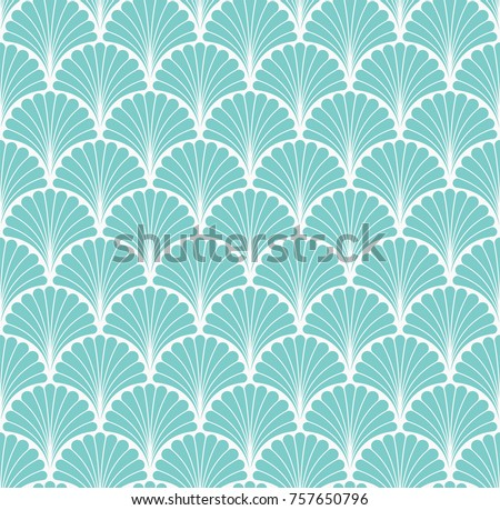 Vector Floral Art Nouveau Seamless Pattern. Geometric decorative leaves texture. Retro stylish background.