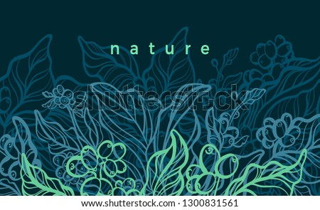 Vector floral background. Nature hand drawn illustration, art line botanical plant. Elegant graphic green banner Vintage organic card. Bio decor, ornament, tropical harvest Coffee tree, bean, flower