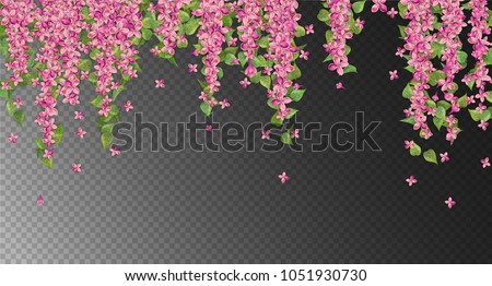 Vector floral background. Pink hanging flowers and leaves