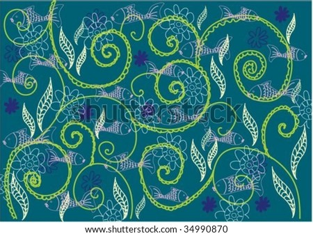 Vector Floral background with fishes