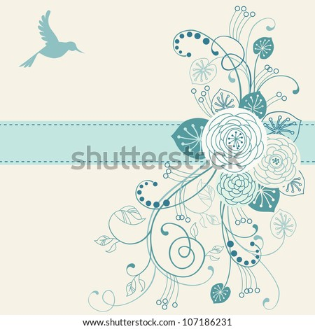 Vector floral background with flower, leaves, bird, branches and ribbon. Invitation and greeting card with bunch of roses. Romantic abstract blue illustration with text box for wedding and holiday.