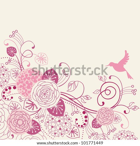 Vector  floral  background with flowers, leaves, bird and branches of blooming tree.  Stylized garden in tints of pink. Light abstract illustration with text box