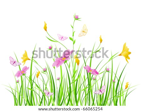 Stock Photo vector floral background with pink and yellow flowers