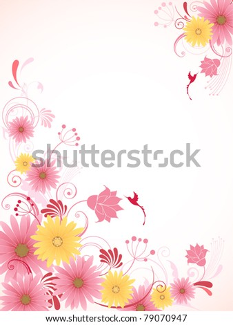 vector floral background with pink flowers - stock vector