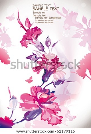 Vector Floral background with Place for your text. Abstract Classical congratulation card.