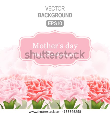Vector Floral background with Place for your text Abstract Classical congratulation card With drops of carnations