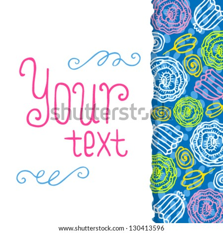 Vector floral banner. Floral card with place for your text