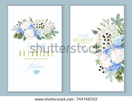 vector floral banners with blue ...