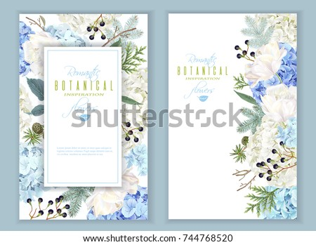 vector floral banners with blue