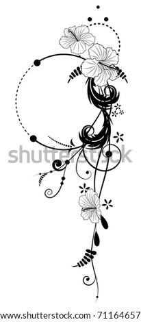 vector floral banners with flowers of hibiscus in black and white colors