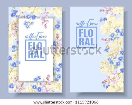 Stock Photo Vector floral banners with light yellow hibiscus and forget me not flowers on light blue. Tender design for cosmetics, spa, perfume, health care products, florists shop,wedding invitation.