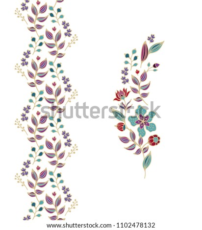Vector floral border ornament and floral branch on white background