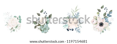 Vector floral bouquet design: garden pink  creamy powder Rose flower, anemone Eucalyptus branch greenery leaves berry. Wedding vector invite card. Designer element set. White background. #1197154681