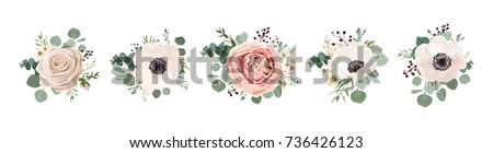 Vector floral bouquet design: garden pink peach lavender creamy powder pale Rose wax flower, anemone Eucalyptus branch greenery leaves berry. Wedding vector invite card Watercolor designer element set - Shutterstock ID 736426123