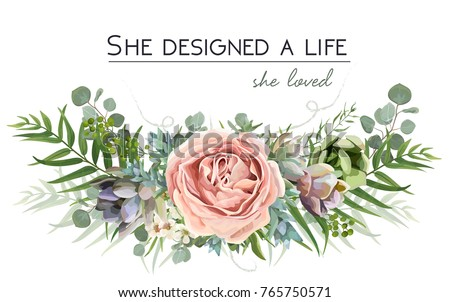 Vector floral bouquet design: garden pink peach lavender Rose flower, Eucalyptus branch green fern palm leaves, succulent berry Watercolor designer element. Wedding vector invite illustration postcard