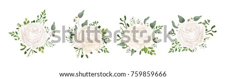 Vector floral bouquet design: white garden Ranunculus, Rose flower, fern, eucalyptus, mistletoe branch greenery leaves berry. Wedding vector invite card Watercolor watercolor cute designer element set #759859666